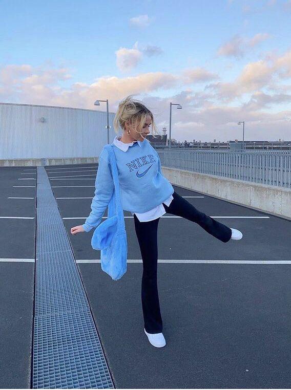 aesthetic blue minimalist fit