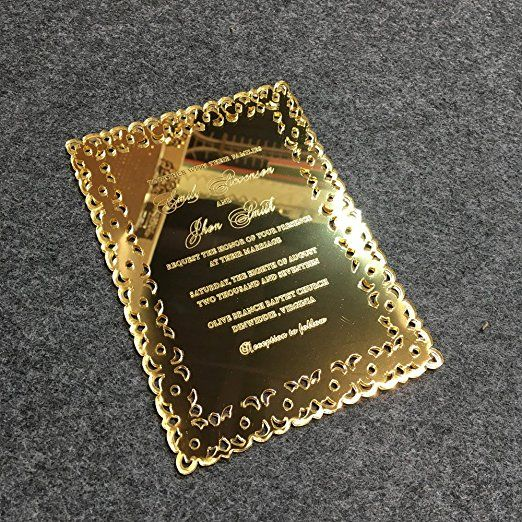 Amazon morden luxury 5x7inch golden mirror acrylic wedding amazon morden luxury 5x7inch golden mirror acrylic wedding invitation card 100 pieces per stopboris Gallery