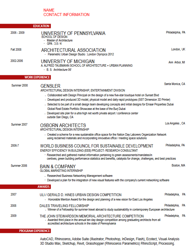 Career Services At The University Of Pennsylvania Architect Resume Sample Architect Resume Student Resume