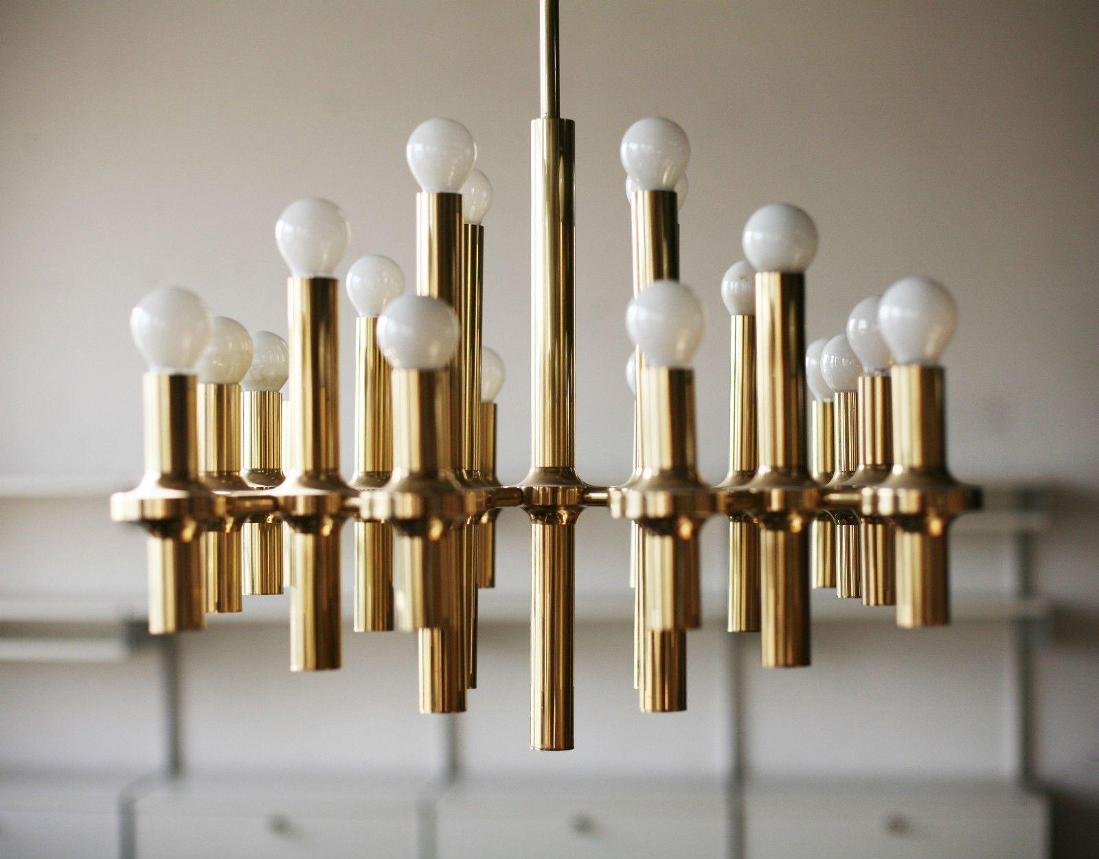 TRUE VINTAGE Gaetano SCIOLARI DECKENLAMPE 70er Lampe Space Age Chandelier  Gold   Large Sciolari Ceiling Lamp