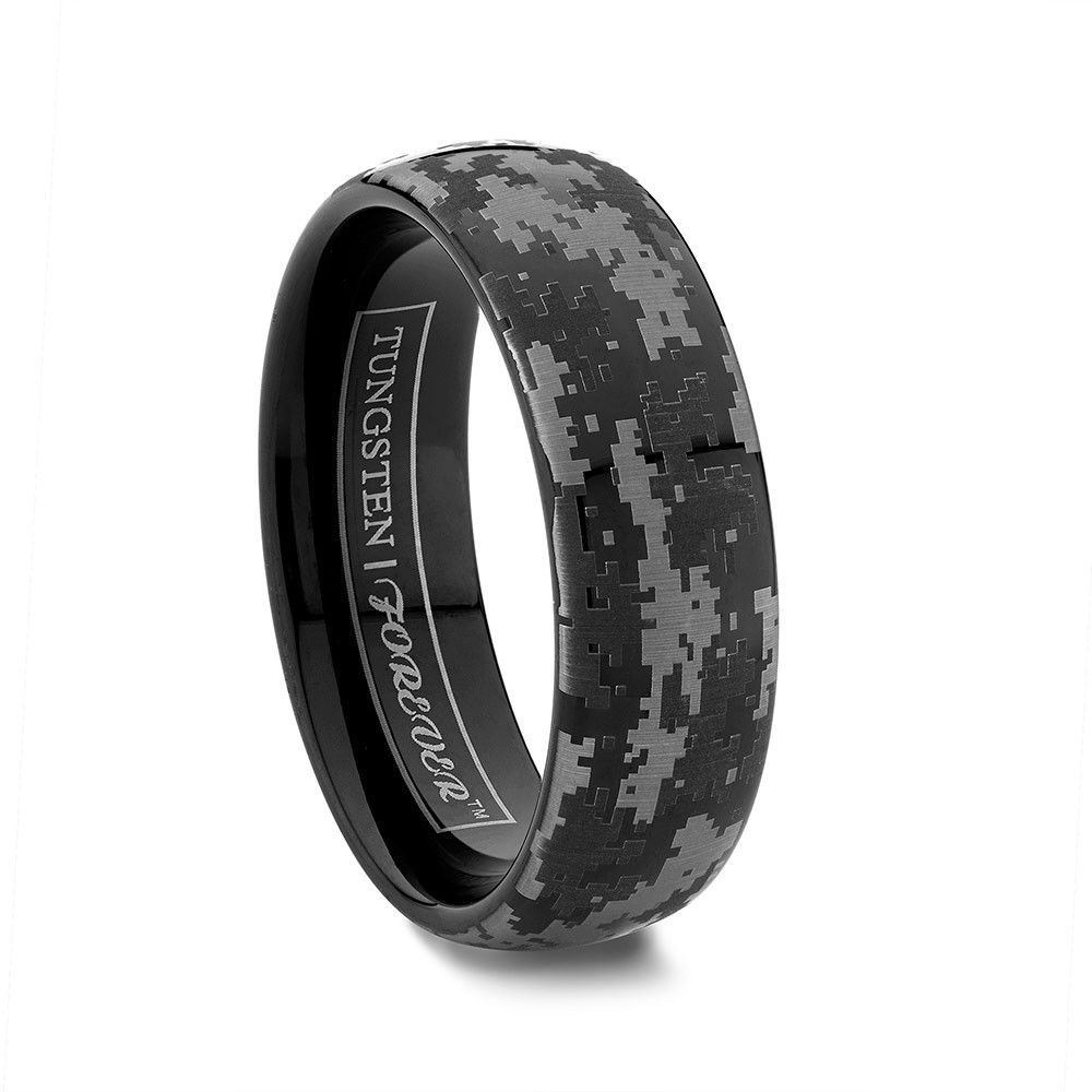 Nighthawk 6mm 8mm Our Por Camouflage Design Wedding Bands And Rings Have Gone Digital The Is A Domed Black Tungsten Band Expertly Engraved