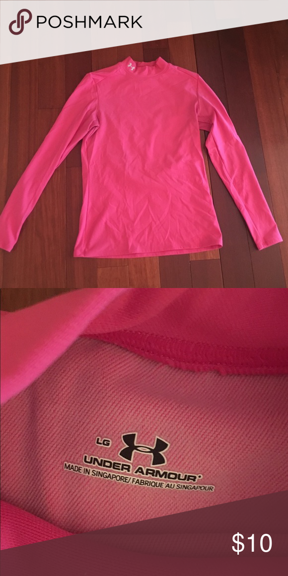 Hot Pink Under Armour Top Large Guc Fun Color No Rips Or Tears Smoke Free Longer Cold Weather Running Make Offer On All Performance Tips