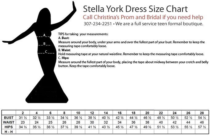 Stella York Size Chart