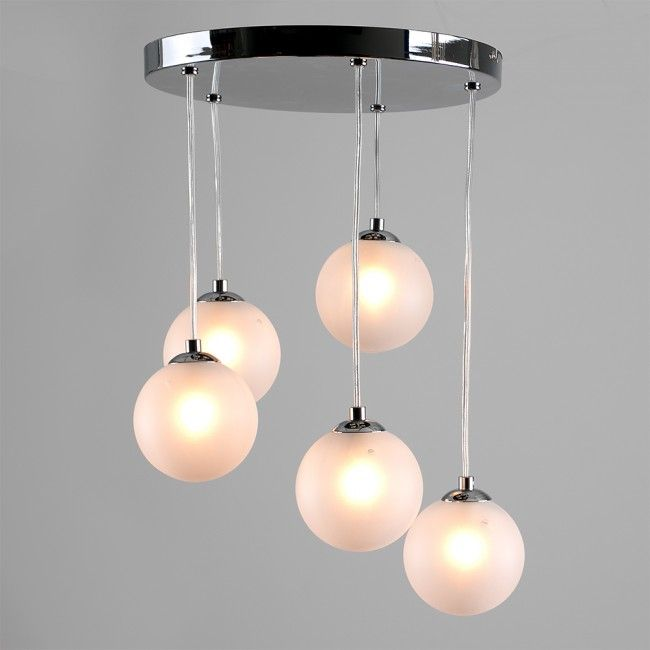 Modern 'Boulevard' 5 Way Droplet Ceiling Light in Chrome Finish with Frosted…