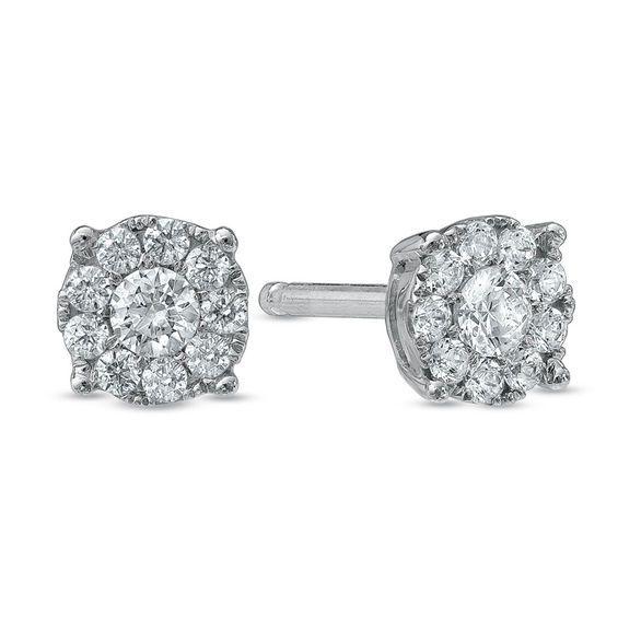 1 4 Ct T W Diamond Frame Stud Earrings In 10k White Gold Stud Earrings Diamond Studs Gold Drop Earrings