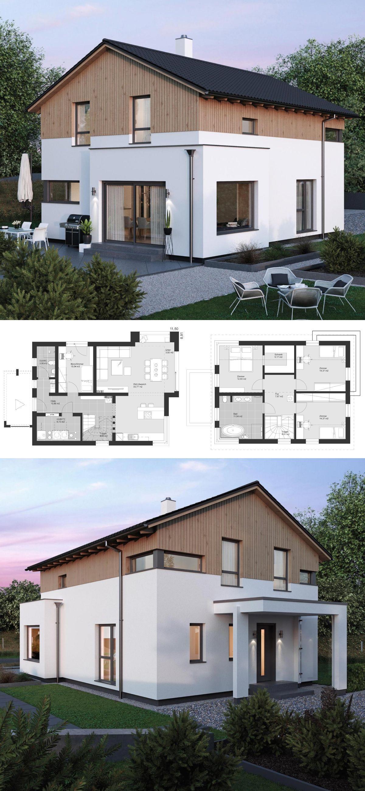 einfamilienhaus neubau modern im landhausstil grundriss mit satteldach architektur holzfassade. Black Bedroom Furniture Sets. Home Design Ideas