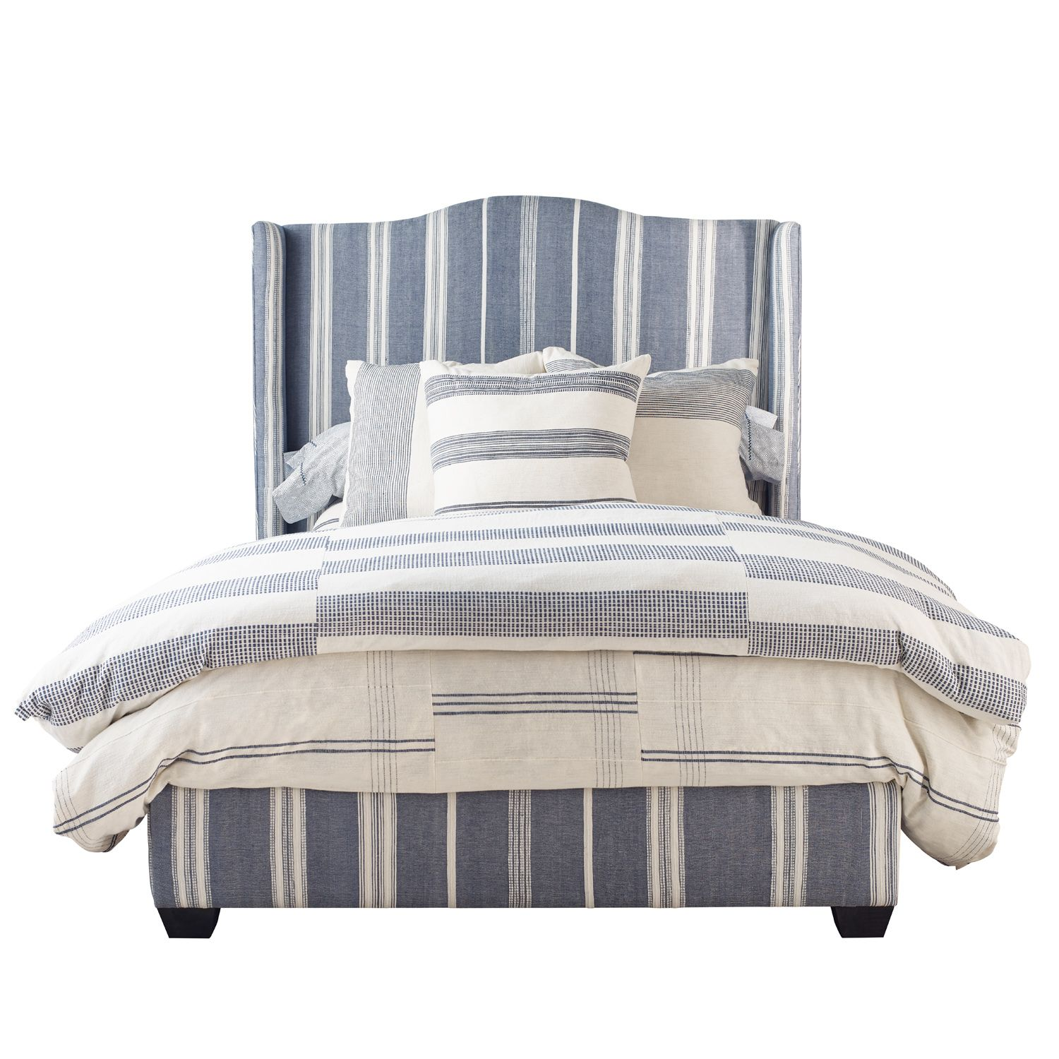 Emerson Navy Stripe Queen Bed
