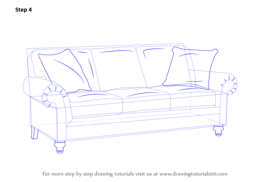Couch Drawing learn how to draw sofa (furniture) stepstep : drawing