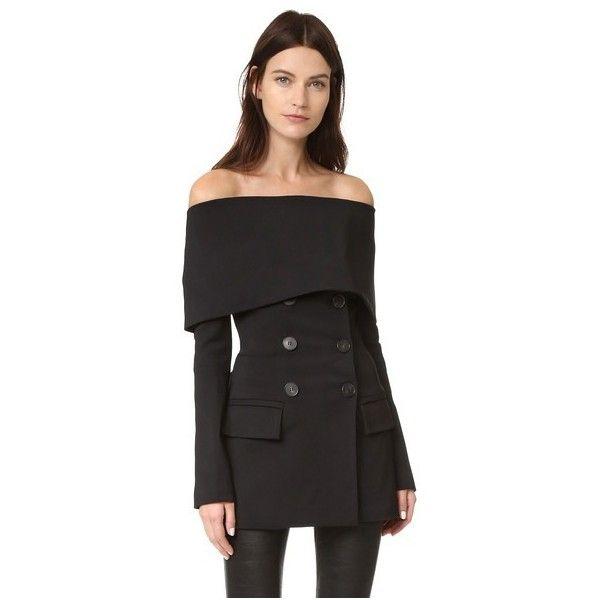 Yigal Azrouel Tech Cape Blazer ($1,165) ❤ liked on Polyvore featuring outerwear, jackets, blazers, black, double breasted blazer, blazer jacket, draped jackets, tailored jacket and double breasted cape