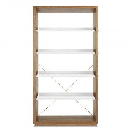 D3 Walnut / White Modern Wood Bookcase