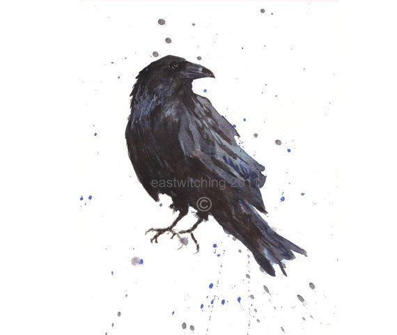 Raven Art, FREE shipping, Raven Print, Bird Lover, raven, Bird Keepsake, Hitchcock fan. $16.00, via Etsy.