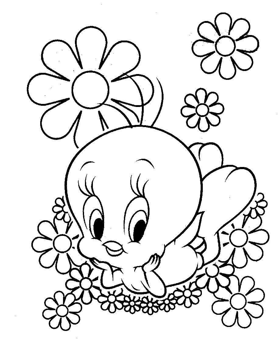 Disegni Da Colorare Fiori E Animali.Tweety In Mezzo Ai Fiori Jpg 913 1165 Disegni Da Colorare Pagine Da Colorare Disney Disegni
