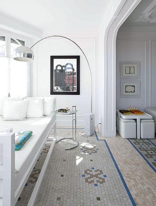 trendhome white apartment in barcelona mosaic floorstile