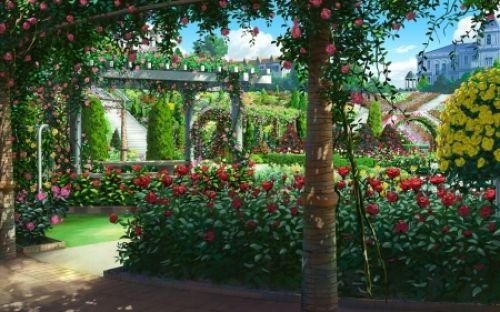 Rose Garden Hd Desktop Wallpaper Anime Background Anime Scenery Anime Scenery Wallpaper