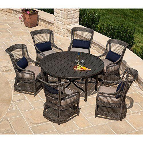 Amazon Com La Z Boy Outdoor Juliette 7 Pc Patio Dining Set With Premium Sunbrella Fabric Patio Furniture Sets Patio Furnishings Outdoor Dining Furniture