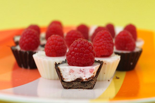chocolate raspberry panna cotta cups - i'd add a hidden chocolate chip in each raspberry on the top