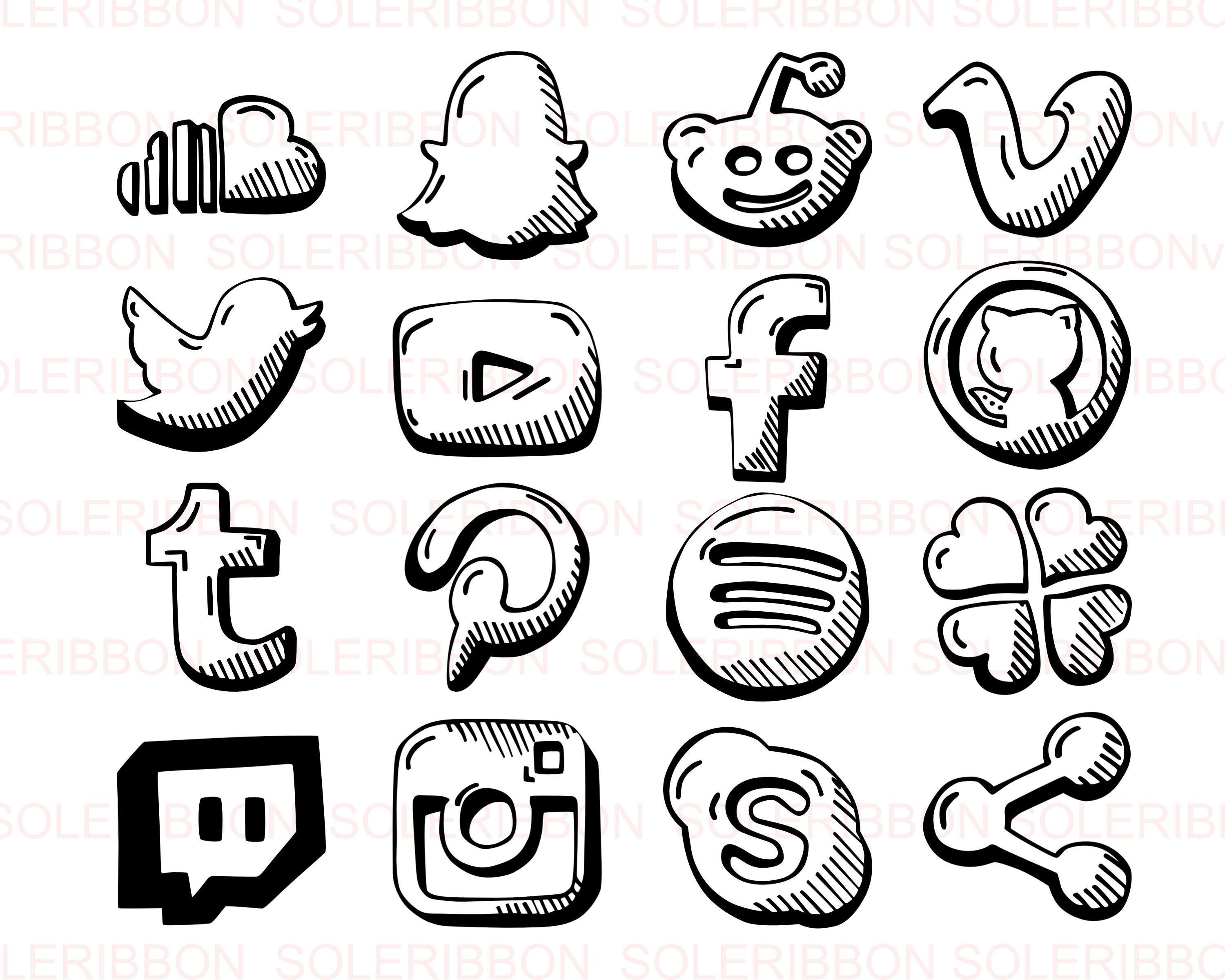 Hand Drawn Social Media Icons Facebook Instagram Twitter Etsy How To Draw Hands Social Media Icons Clip Art