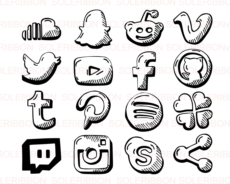 HandDrawn Social Media Icons Facebook, Instagram