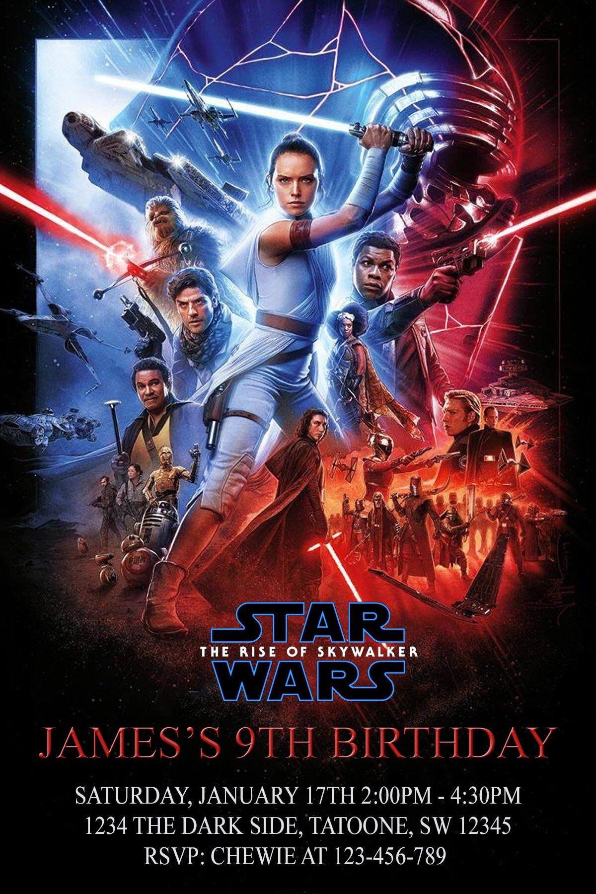 Star Wars Birthday Invitation Rise Of Skywalker Digital File Printable In 2020 Star Wars Watch Star Wars Episodes Star Wars Movie