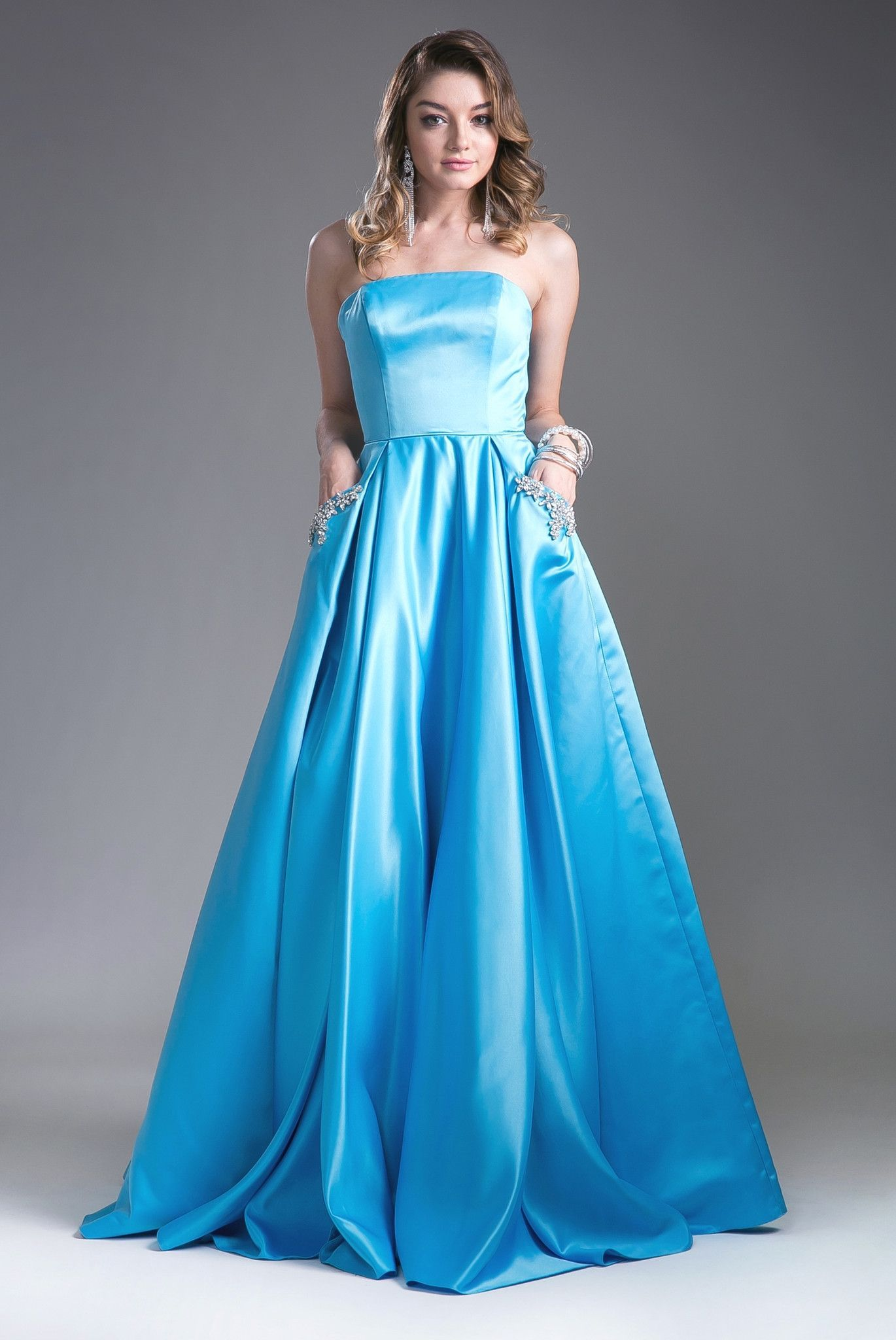 Strapless Ball Gown with Beaded Pockets by Cinderella Divine CA304 ...