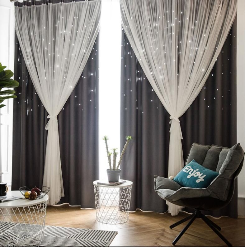 Tulle Black Out Double Curtains With Star Tassel Home Decor