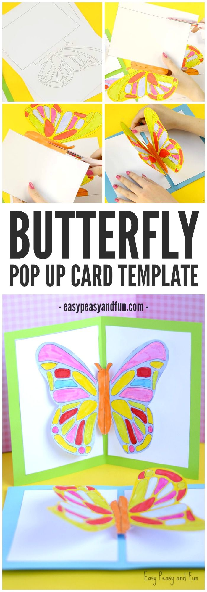 Diy Butterfly Pop Up Card With A Template Pop Up Card Templates Insect Crafts Pop Art For Kids