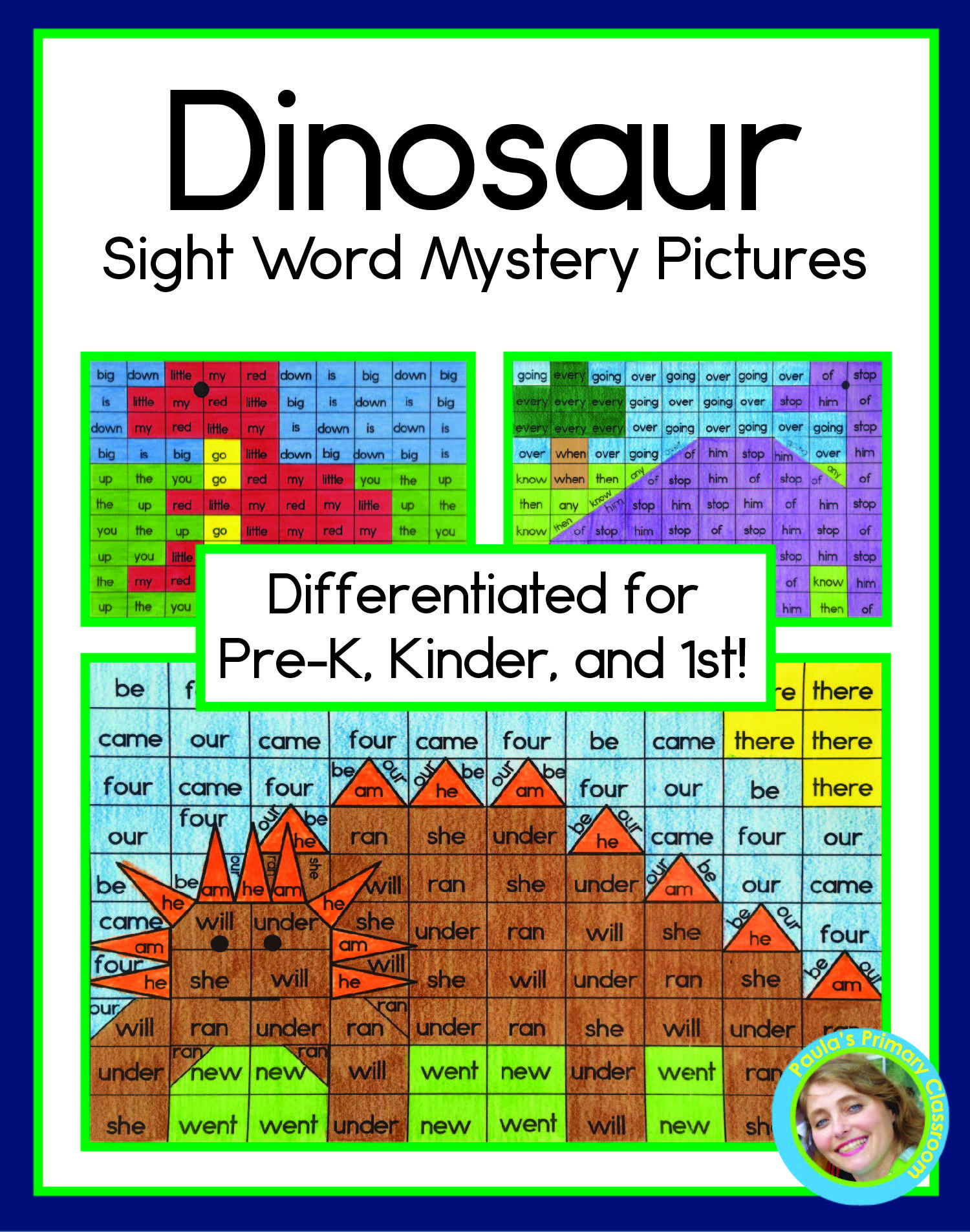 Dinosaur Sight Word Mystery Pictures Pre Primer Primer