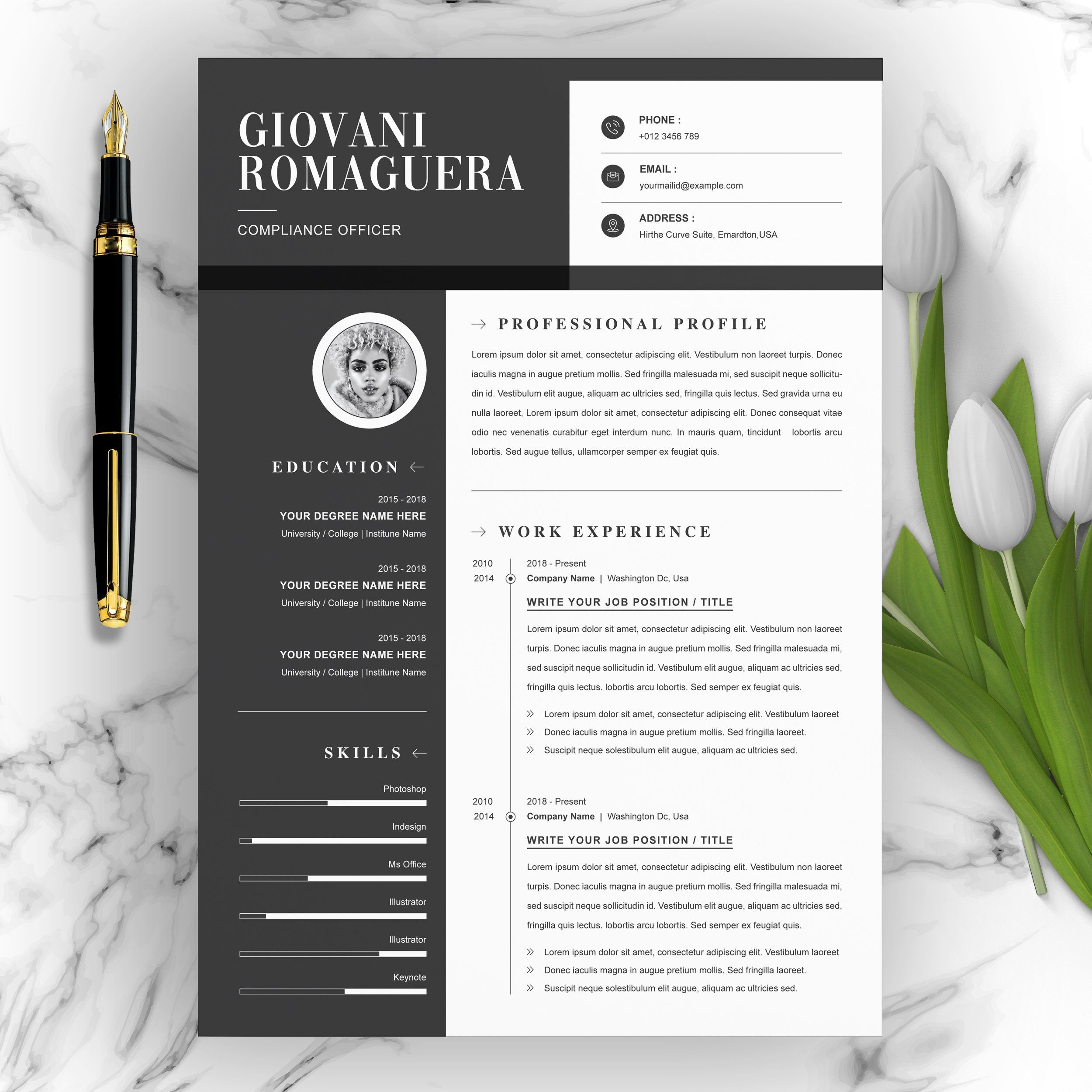 Minimal and Black White Clean Resume Game assets, Resume
