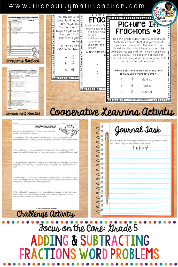 Adding And Subtracting Fractions Word Problems Math Center Activities Fraction Word Problems Subtraction Word Problems Word Problem Worksheets