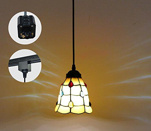 Kiven 5 9 Inches Jewels Tiffany Style Stained Glass H Type Track Pendant Fixture With 1 Light Multi Colored Lightfixt Pendant Fixture Tiffany Style Light