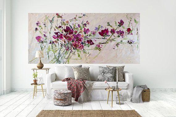 Kunst zeitgenössische Original Ölgemälde bunte Blumen rote Rosen
