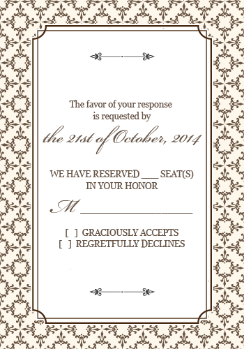 Free Pdf Download Stately Frame Rsvp With Matching Invitation Card Wedding Invitation Templates Fun Wedding Invitations Wedding Invitation Pdf