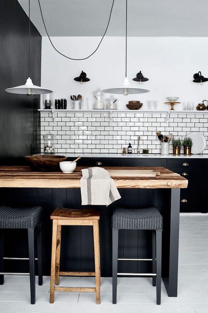Idée relooking cuisine \u2013 modele cuisine blanche et grise anthracite