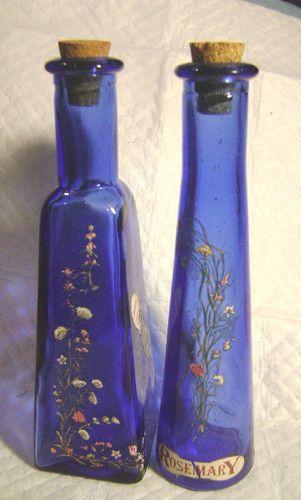A PAIR(2) COBALT BLUE GLASS SPICE BOTTLES-ROSEMARY & THYME-**(ROUND & SQUARE)