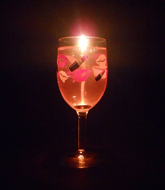Lipstick Wine Glass Gel Candle Choose Color And Scent Over Wine Glass Gel Candles Wine Glass Candle