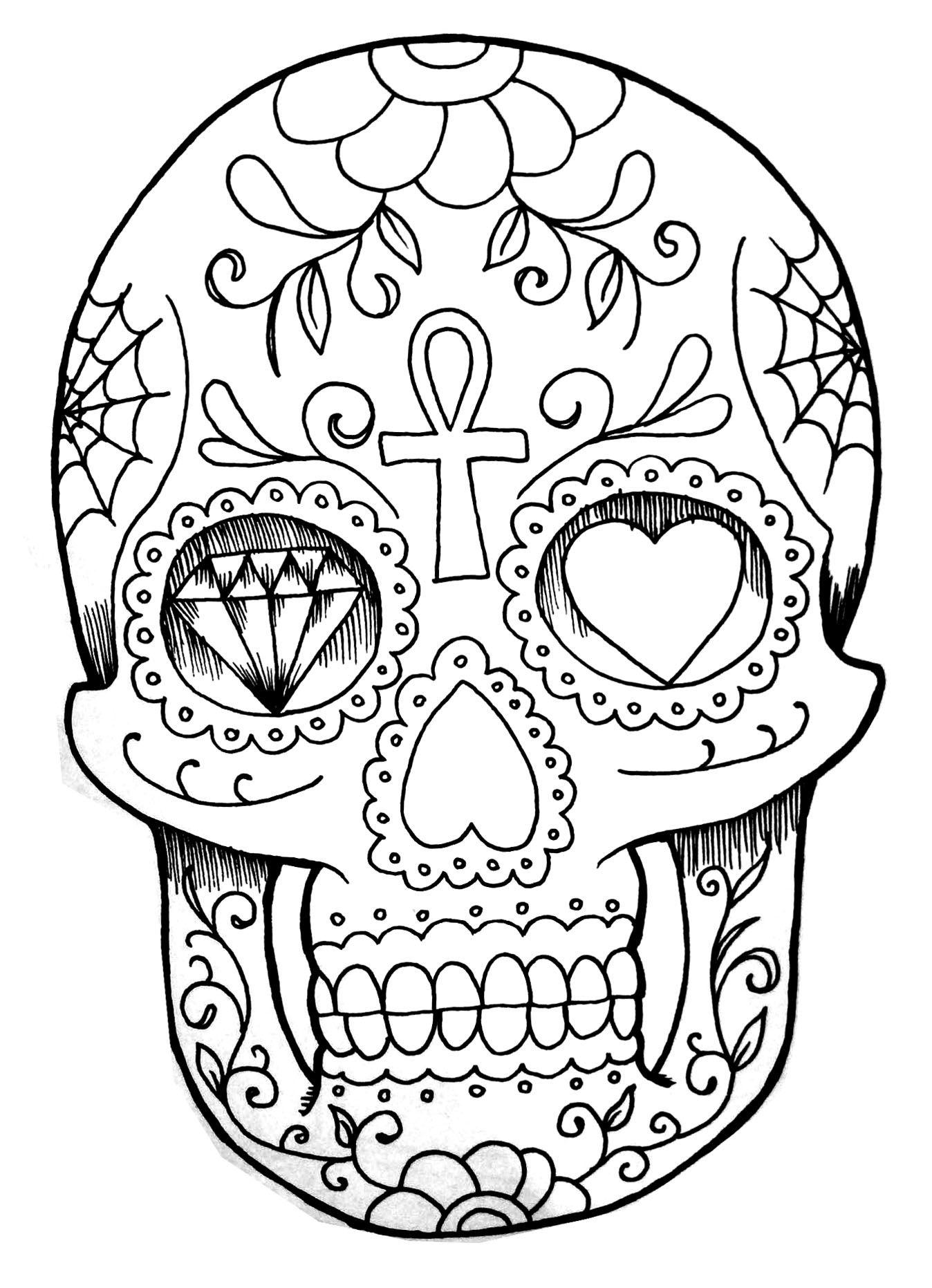 Pour imprimer ce coloriage gratuit coloriage tatoo crane cliquez sur l
