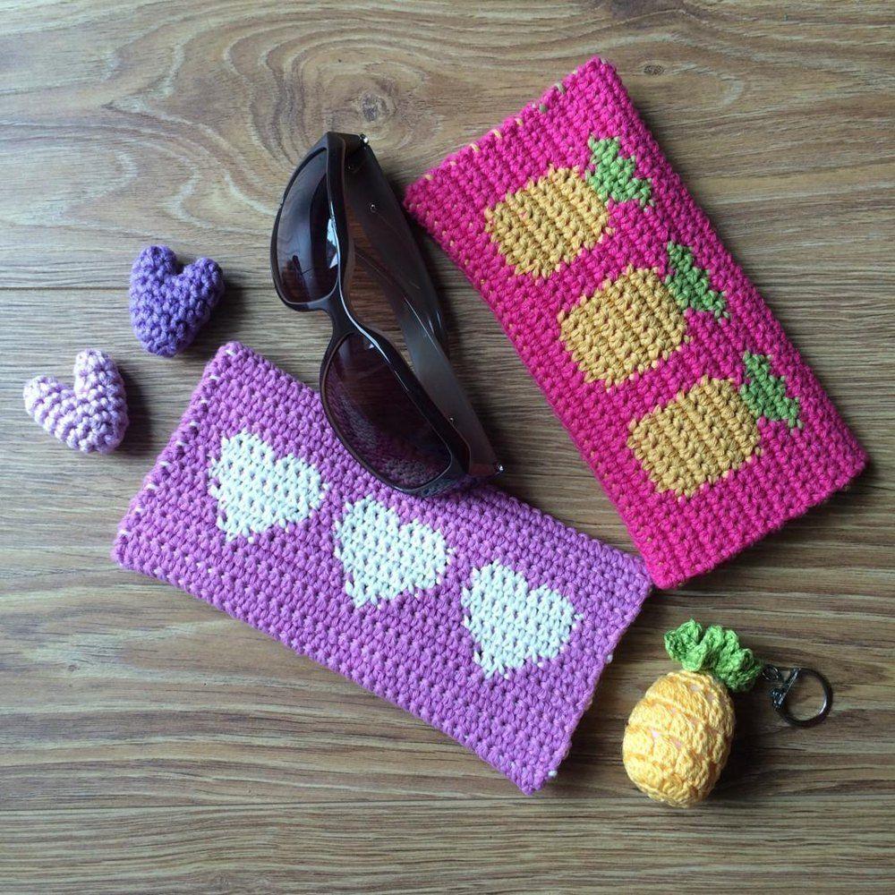 Free pdf pattern - tapestry crochet sunglasses case in a pineapple ...