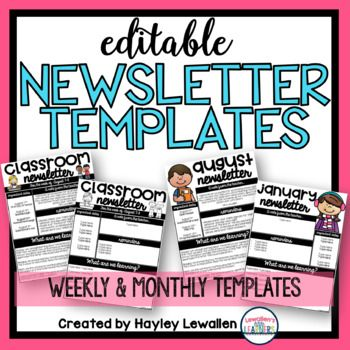 Editable Weekly And Monthly Newsletter Templates  Class