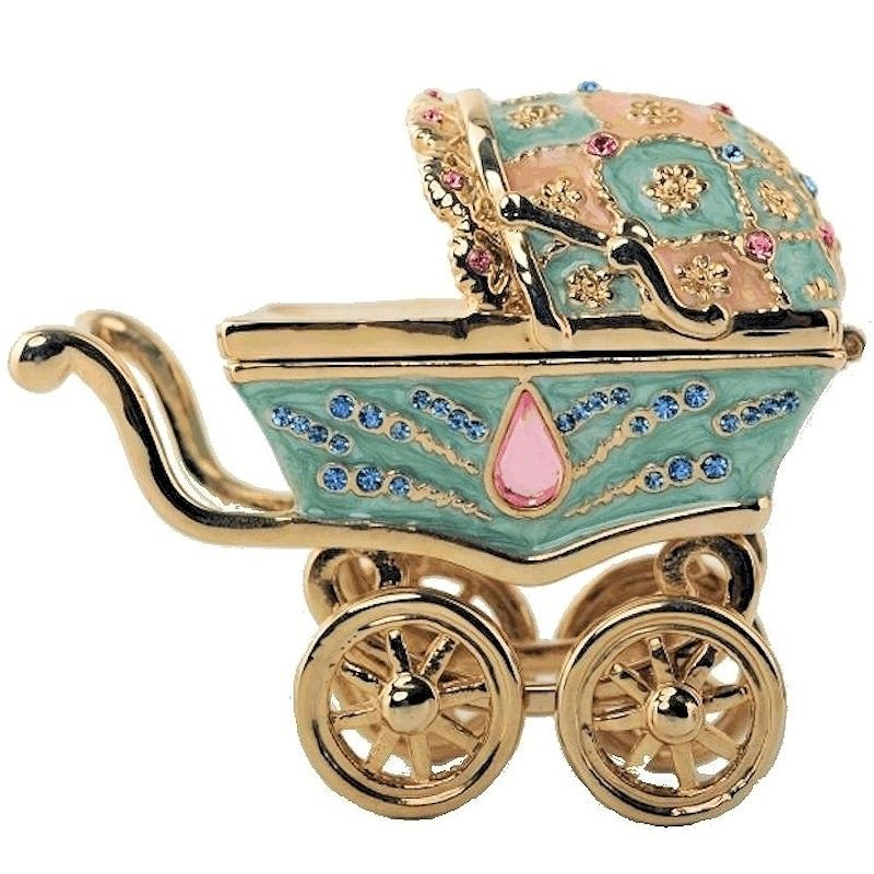 Baby Carriage Figurine Trinket Box By Keren Kopal Trinket Boxes