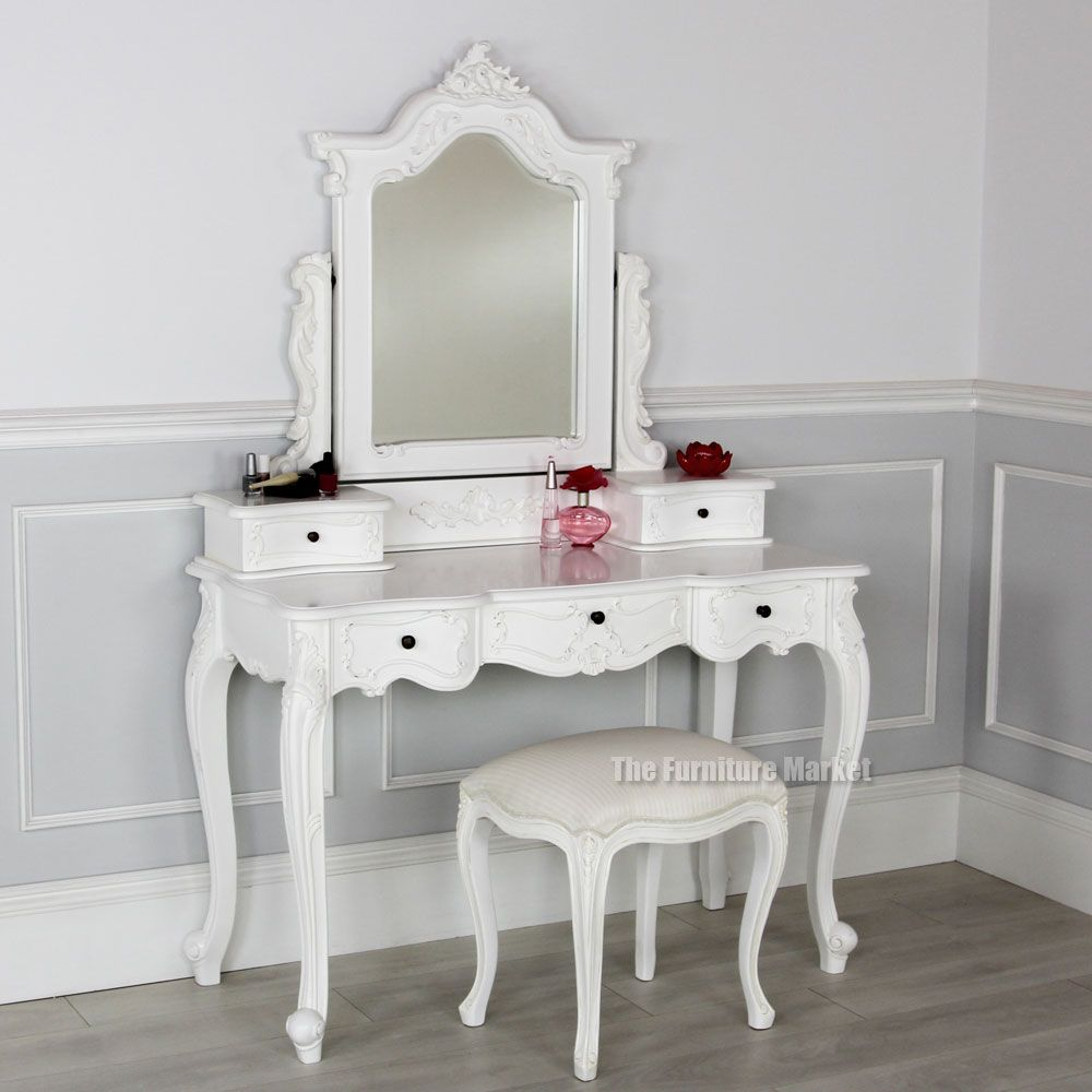 French Chateau White Dressing Table Linen Set With Stool