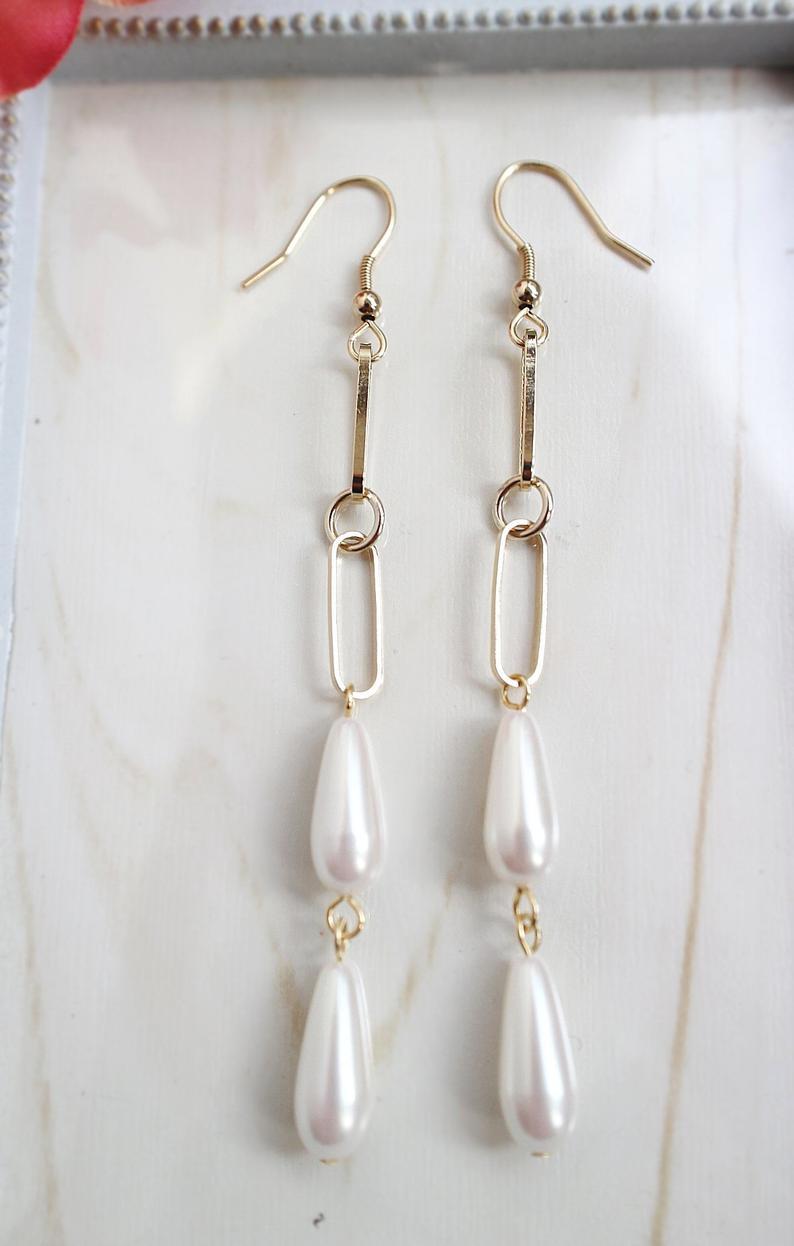 Double Pearl Drop Earrings,Non Pierced Earrings,Long Dangle Clip On,Long Pearl Earrings,Wedding Pearl Clip On,Long Drop Pearl Earrings