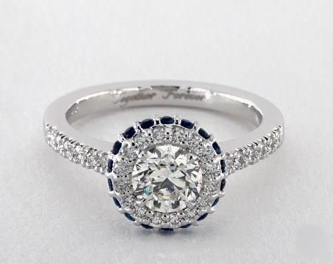 .8ct  Round Engagement Ring White Gold & Gemstone Accents