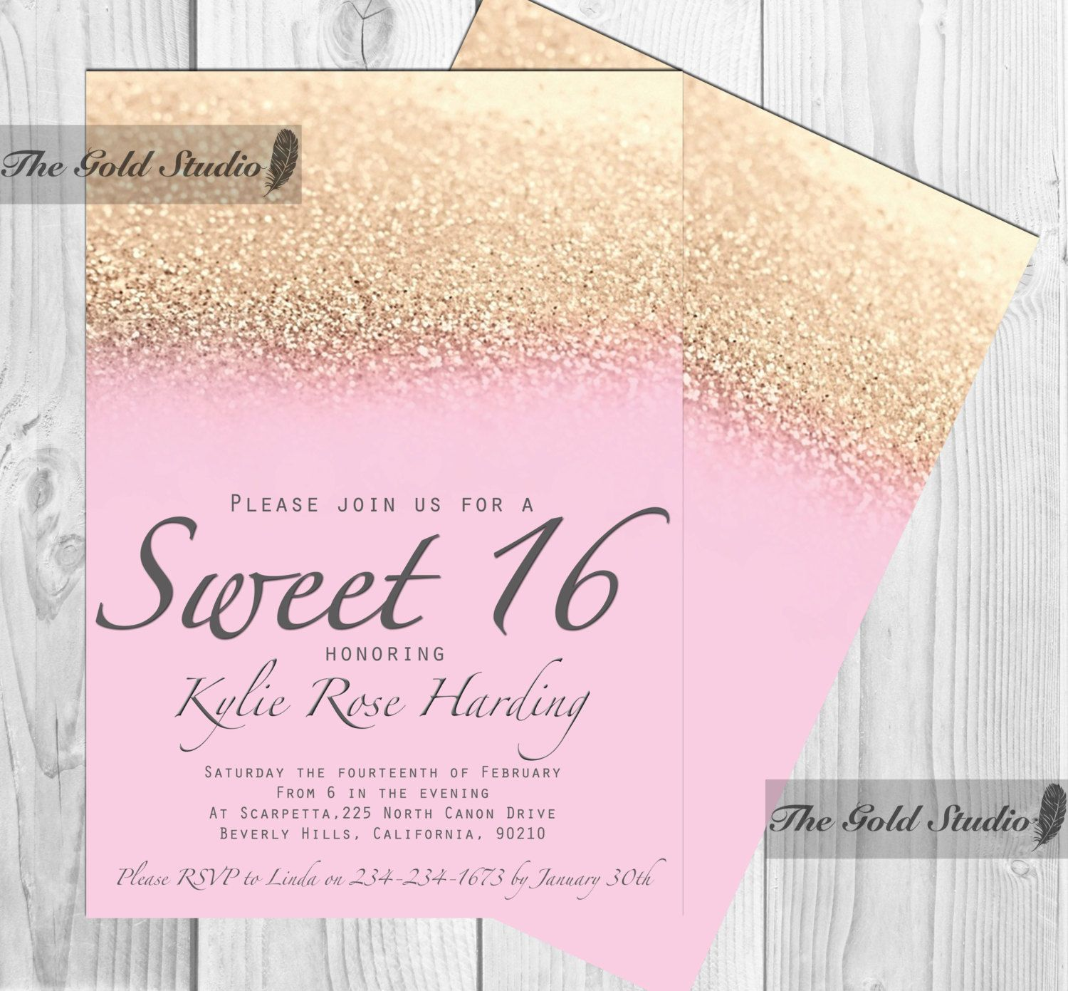Sweet 16 invitation, Sweet sixteen Pink & Gold Glitter invite ...