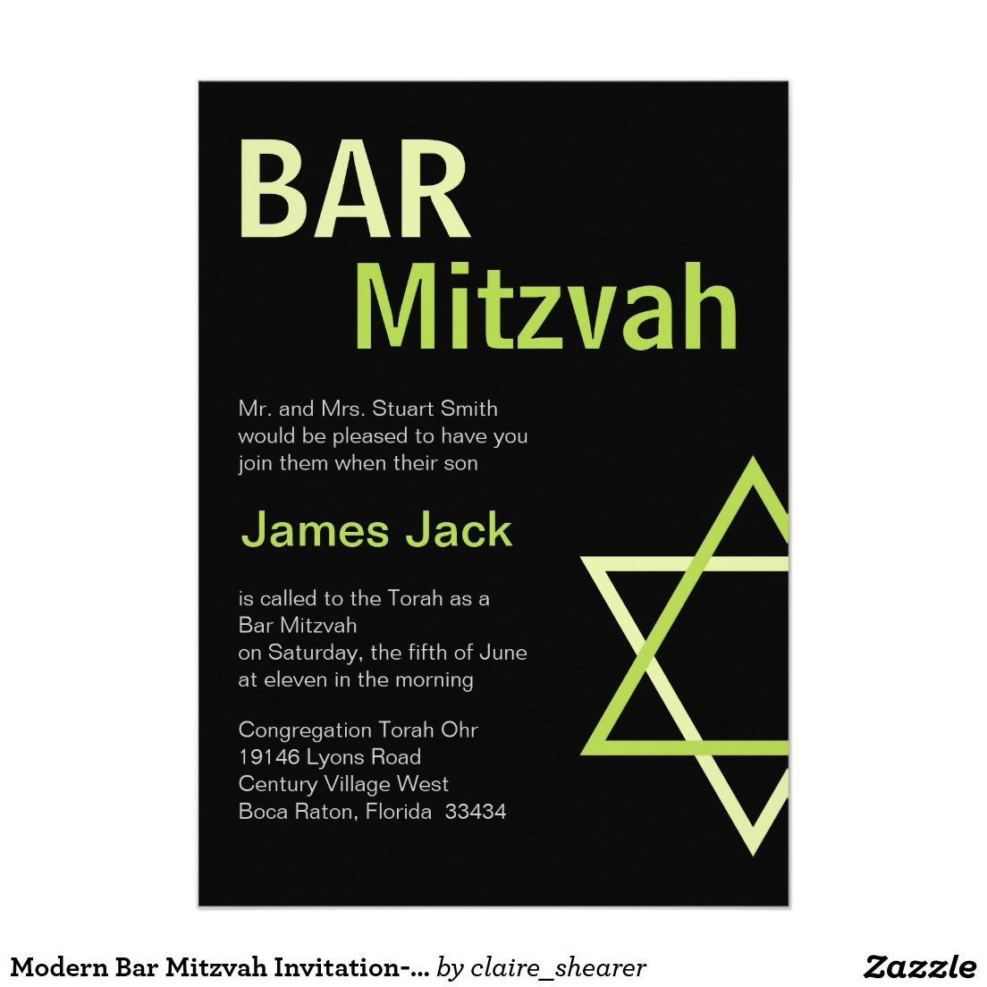 Modern Bar Mitzvah Invitation- Green & Black 5x7 Paper Invitation Card