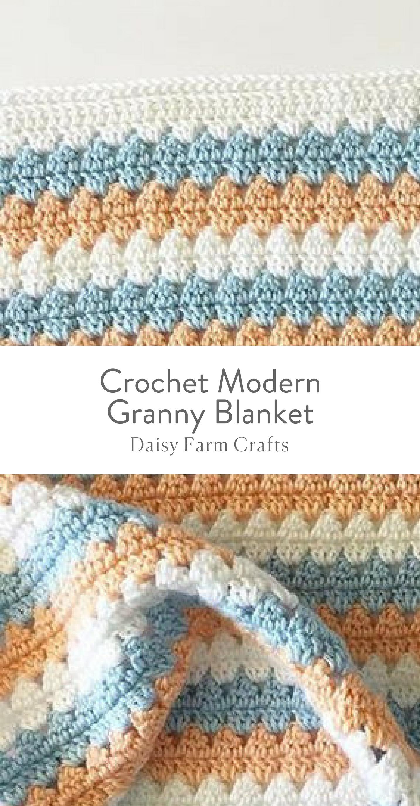 Free Pattern - Crochet Modern Granny Blanket in Peach and Blue ...