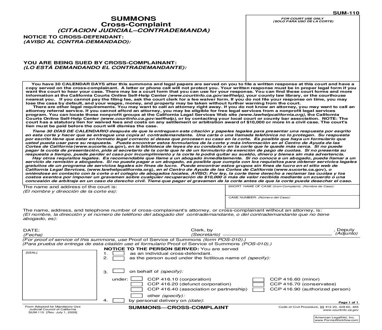 Judicial Council Form Complaint This Is A California Form That Can Be Used For Summons Within .