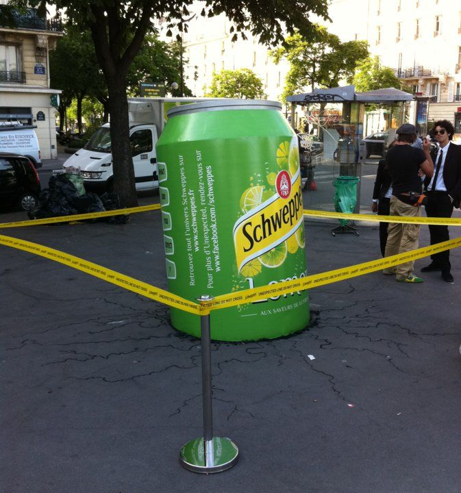 Schweppes is groundbreaking. Guerilla. marketing. could be an idea for the tomy shoe to be advertised in the street
