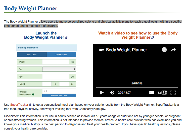 body weight planner