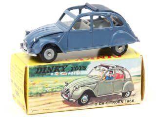 Dinky Toys France 500 Citroen 2cv Decapotee Bleu Petrole Capote Bleu Fonce A B Boite Avec Languette Revendeur 150