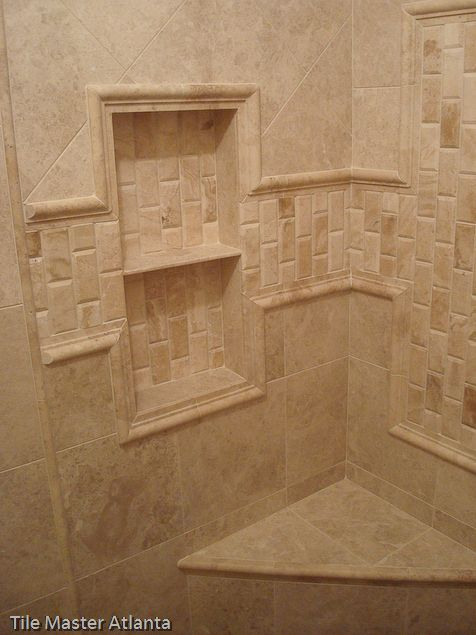 Marble tile shower marble tile atlanta bathroom for Travertine accent tile